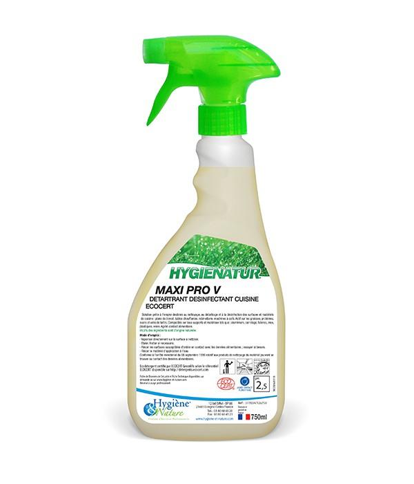 Détartrant désinfectant cuisine - MAXI PRO - ECOCERT - 750ml