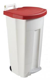 Poubelle mobile à pédale BOOGY blanc - ROSSIGNOL - 90L
