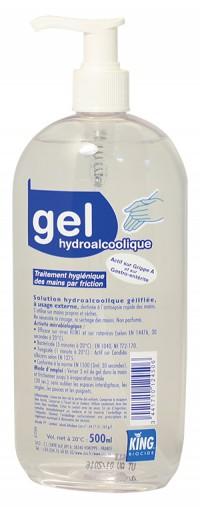 Gel hydroalcoolique KING - 500 ml à pompe